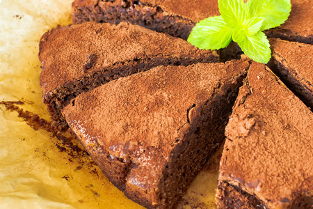 Brownie peanut butter sprinkled with cocoa powder Stock Photo