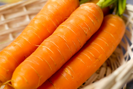 Three fresh carrots with green stalks closeup Stock Photo
