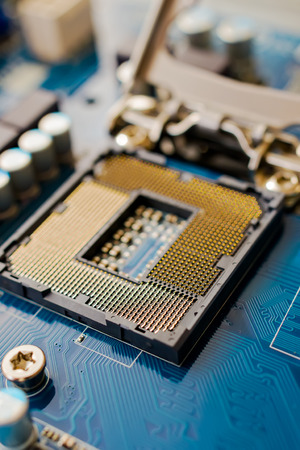 An up close view of where a CPU goes inside a motherboard