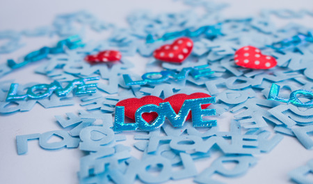 Word LOVE with Heart shaped Valentines Day