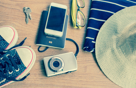 mp3: Outfit of midern traveler, camera, smartphone, glasses, mp3 player, gumshoes
