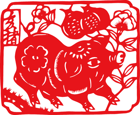 Chinese zodiac paper cut pattern