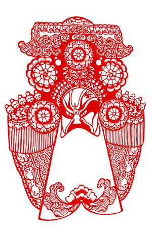 A paper cut pattern of traditional Chinese Peking Opera facial makeup