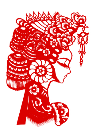 A paper cut pattern of traditional Chinese Peking Opera facial makeup Stock fotó - 107214078
