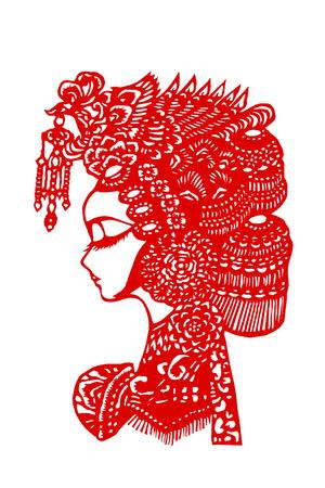 A paper cut pattern of traditional Chinese Peking Opera facial makeup