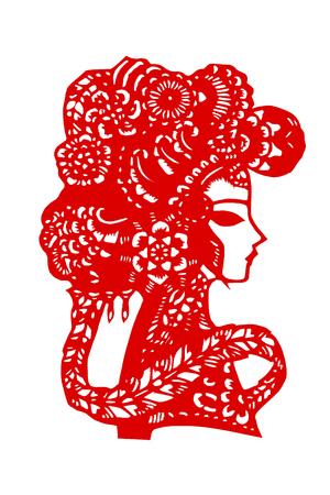 A paper cut pattern of traditional Chinese Peking Opera facial makeup Stock fotó - 107214209