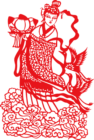 The paper cut pattern of traditional Chinese ladies