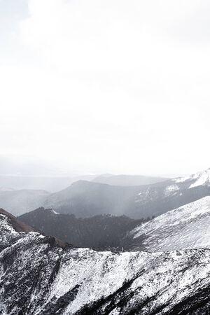 Plateau snow mountain construction road platform