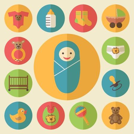 Baby goods icons set