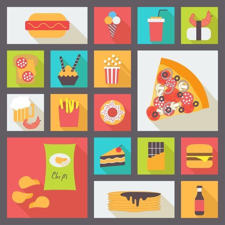 shrimp cocktail: Fast food icons set Illustration