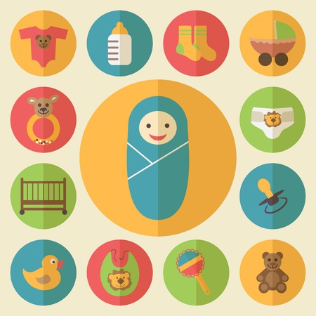 Baby goods supplies, toys, crib and stroller. Vector
