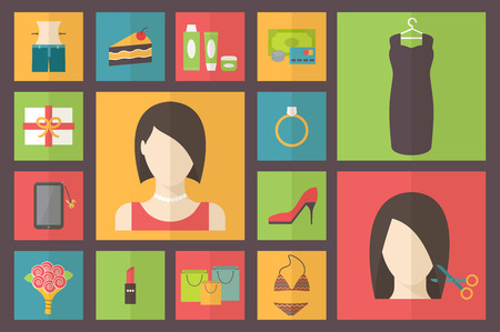 preferences: Woman beauty, shopping preferences and wishes. Vector illustration.