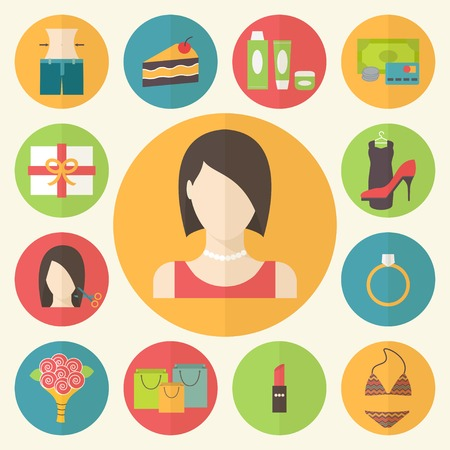 Woman beauty, shopping preferences and wishes. Vector illustration.