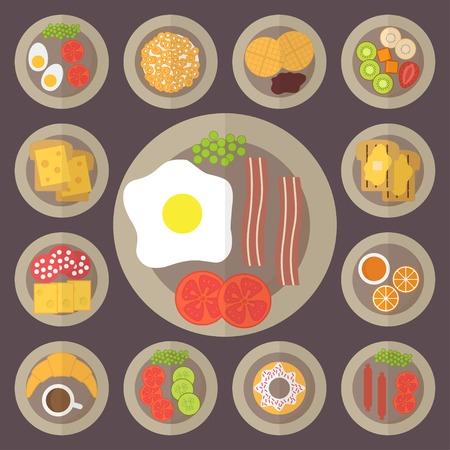 prima colazione: Set da colazione, icone alimentari, ristorante e menu. Design piatto vettore