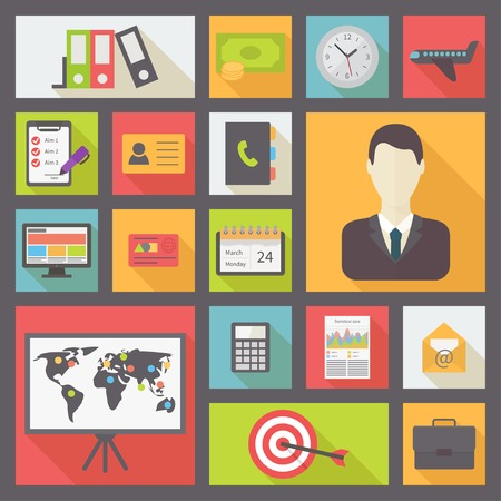 adress book: Business and office icons set, flat design vector Illustration