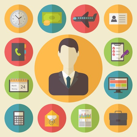 iconography: Business and office icons set, flat design vector Illustration