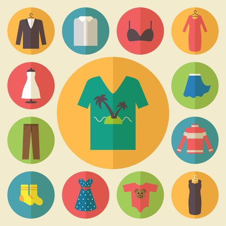 Clothing icons set, shopping elements, flat design vector