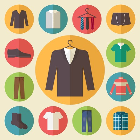 hanger: Clothing icons set, shopping elements, flat design vector