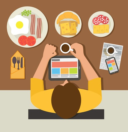 reading news: Breakfast time. Office man reading news on tablet during breakfast Illustration