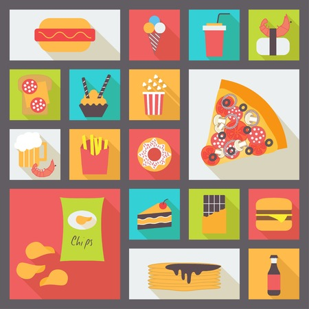 Fast food icons set for menu, cafe and restaurant. Flat design vector 向量圖像