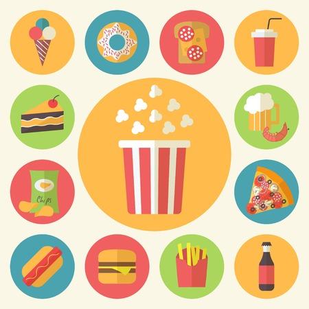 Fast food icons set for menu, cafe and restaurant. Flat design vector Illustration