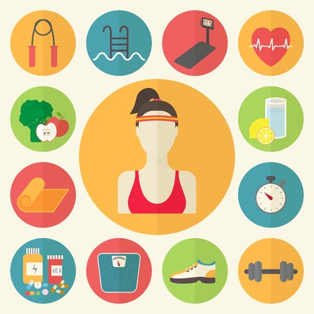 Fitness, sport equipment, caring figure and diet icons. Illustration
