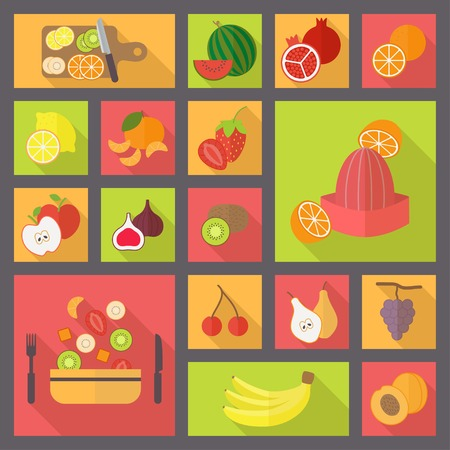 cons: Fruit cons set for cooking, restaurant and menu. Flat design vector.