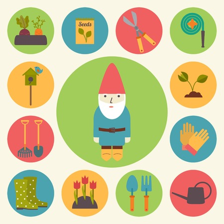 lawn gnome: Gardening, garden icons set, flat design vector Illustration