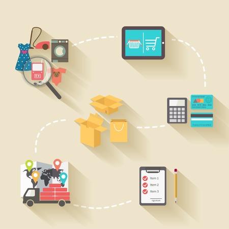 tienda de ropa: Elementos de compras por Internet, estilo de diseño plano con largas sombras