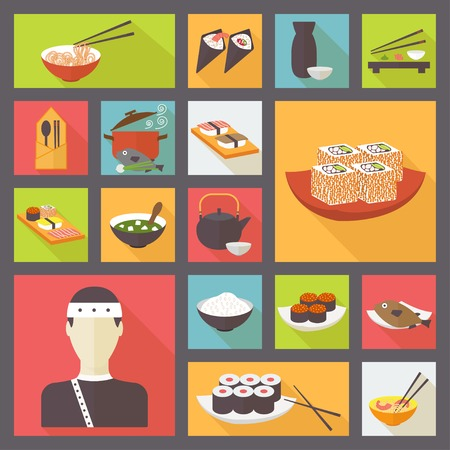 japanese cuisine: Japanese cuisine, sushi and rolls, food icons set, flat design vector Illustration