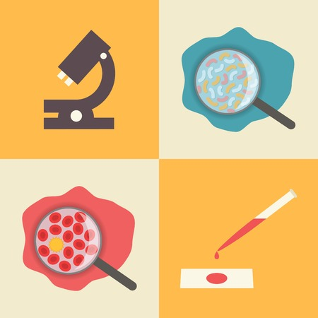 blood test: Microscope, microbes in water, blood chemical composition and blood test. Illustration