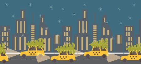 cartoon christmas eve: New Year coming, green tree on yellow taxi. Night street view. Vector illustration