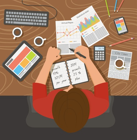 work office: Business woman working with documents, top view. Flat design illustration