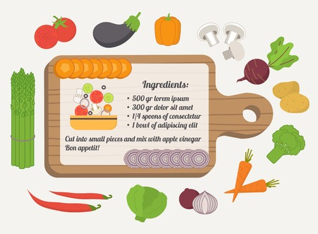 recipe card: Recipe card, culinary template with food icons and kitchen elements. Flat design vector Illustration