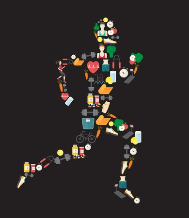 Running man silhouette filled with sport icons. 向量圖像