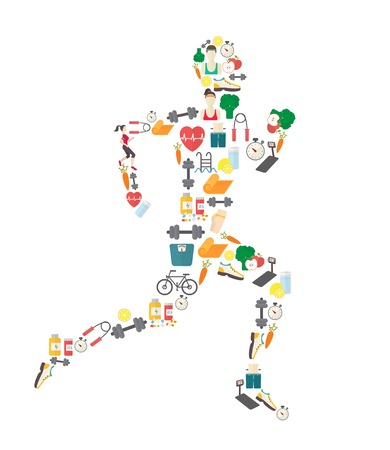 Running man silhouette filled with sport icons. Çizim
