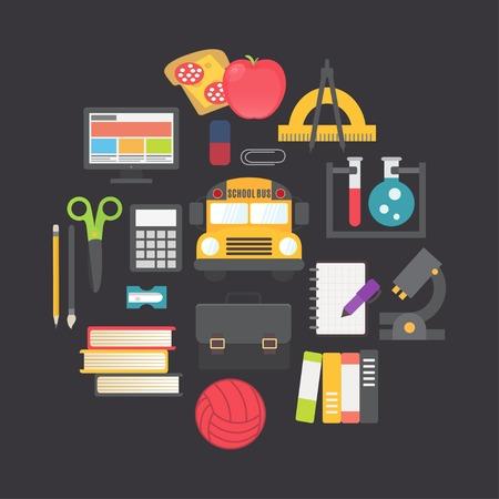 apple computer: Back to school vector icons set, flat design illustration Illustration
