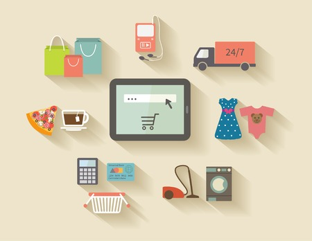 buy online: Internet shopping elements, e-commerce and online purchases. Illustration