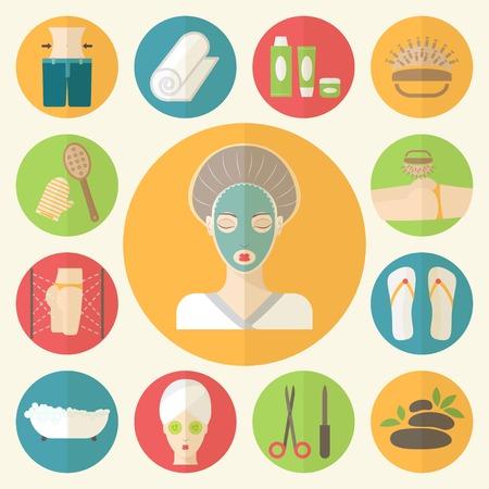 procedure: Viso, corpo, capelli illustrazione. Procedure di bellezza e benessere fatti in design piatto. Vettoriali