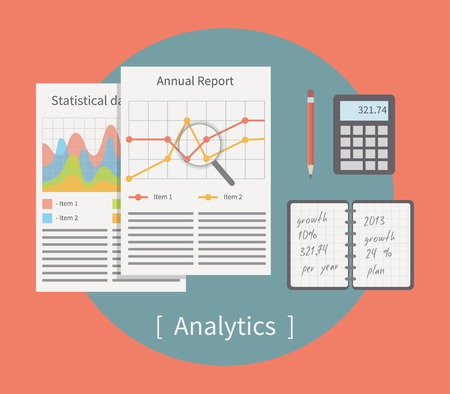 analytic: Analytic vector illustration. Business template with charts and graphs.