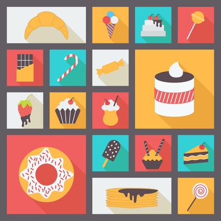 baked goods: Set of various sweets for restaurant and menu. Flat vector icons.