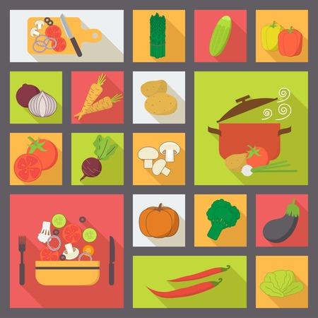 pepino caricatura: Iconos vectoriales vegetales, conjunto de alimentos para la cocina, el restaurante y la comida vegetariana.