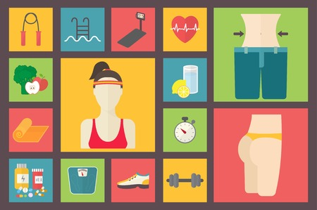 weight loss: Fitness, sport equipment, caring figure and diet icons. Illustration