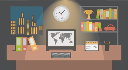 espacio de trabajo: Interior espacio de trabajo de oficinas, apartamentos de dise�o ilustraci�n vectorial. Vectores