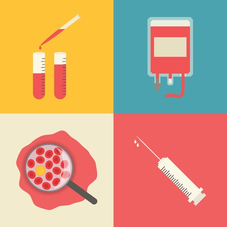 composition: Blood transfusion, test tubes, blood chemical composition and syringe.