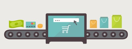 purchases: Transformation money to purchases, internet shopping illustration. Flat design vector