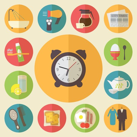 Morning routine icons set. Flat design vector. Vettoriali
