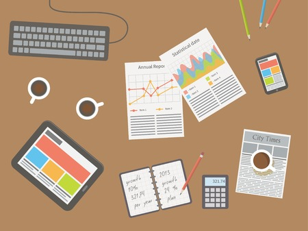 articulos de oficina: lugar de trabajo, escritorio de oficina. Ilustración vectorial Diseño plano.