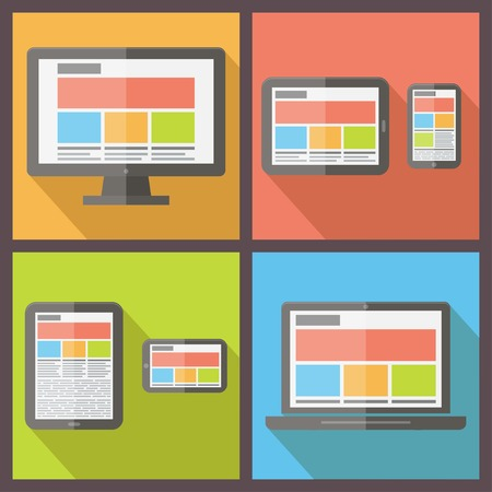 usability: responsive web design on different electronic devices. Flat style vector illustration