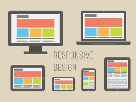 web site: responsive web design on different electronic devices. Flat style vector illustration